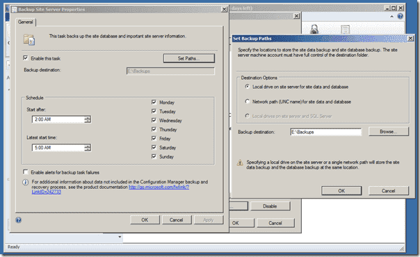 Configuration Manager 2012 SP1 - Set Backup Path