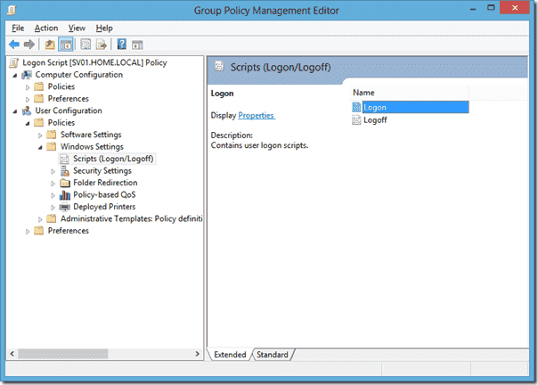 Group Policy Management Editor - Logon Scripts