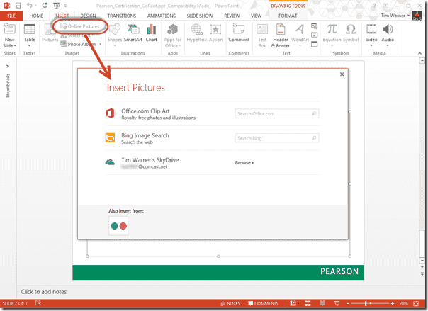 Inserting online images into a PowerPoint 2013 document