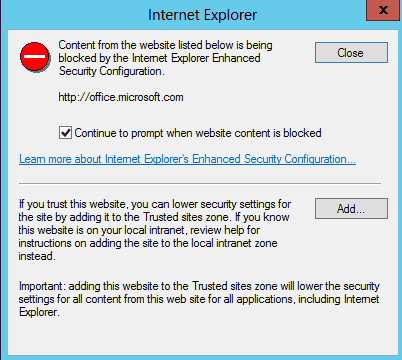 Internet Explorer Enhanced Security Configuration dialog box