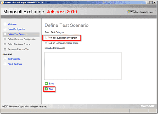 Jetstress - Define Test Scenario