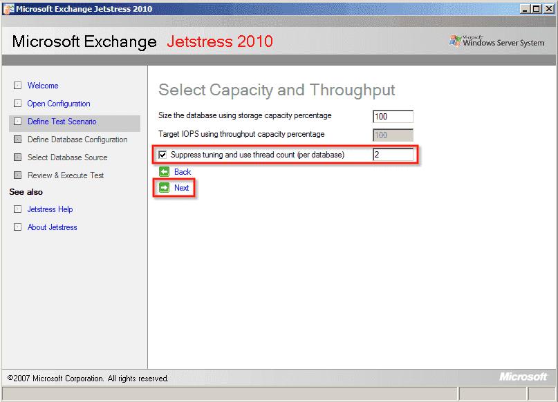 Exchange Jetstress – Determine maximum disk subsystem throughput