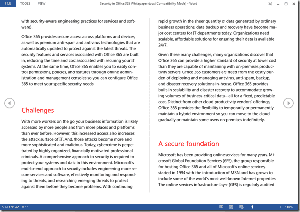 Office 2013 new features - Read Mode in Word 2013