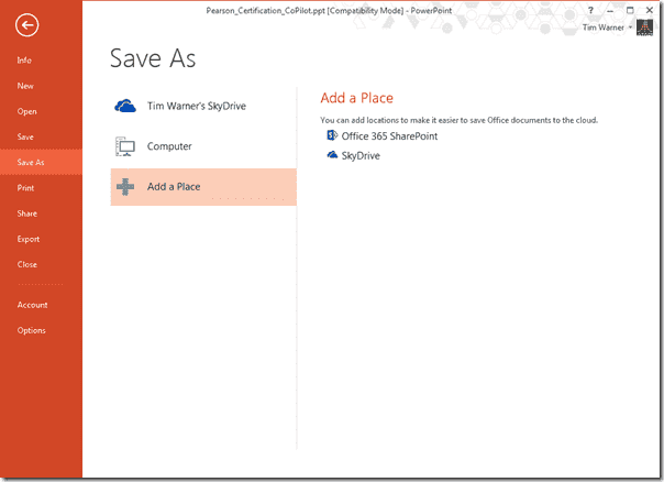 Office 2013 new features - The Save As dialog box in PowerPoint 2013