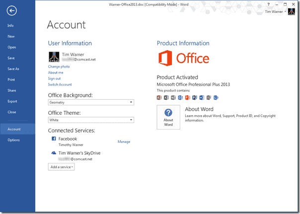 Office 2013 settings synchronization is linked to your Microsoft Account