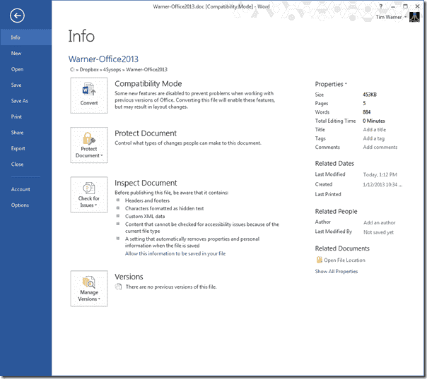 The revamped Office 2013 Start Screen