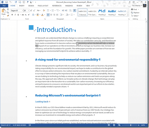 We can open and edit PDF files in Office 2013