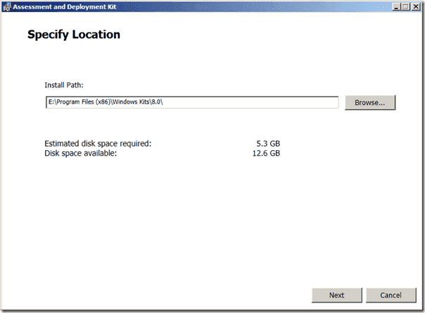 ADK Setup - Specify Location