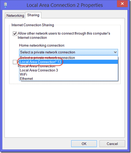 Allow other network users to connect through this computers internet connection