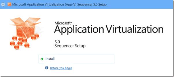 App-V Sequencer Setup Wizard