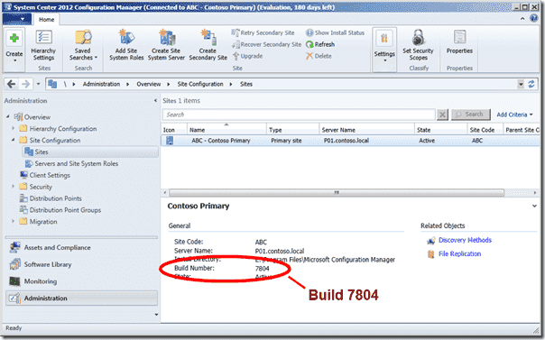 Configuration Manager 2012 SP1 - Build Number 7804