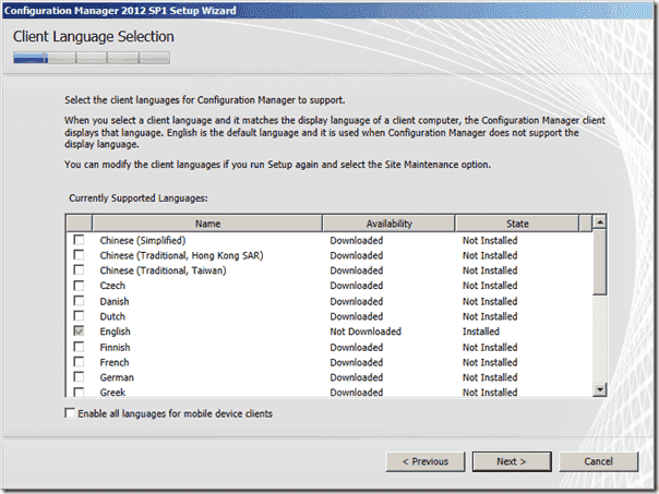 Configuration Manager 2012 SP1 Client Language Selection