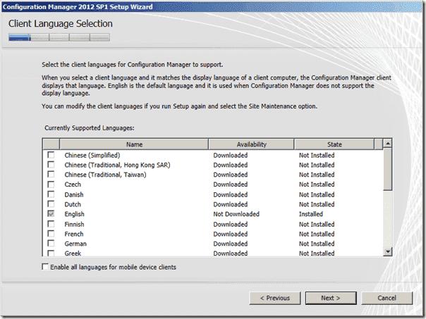 Configuration Manager 2012 SP1 Client Language Selection