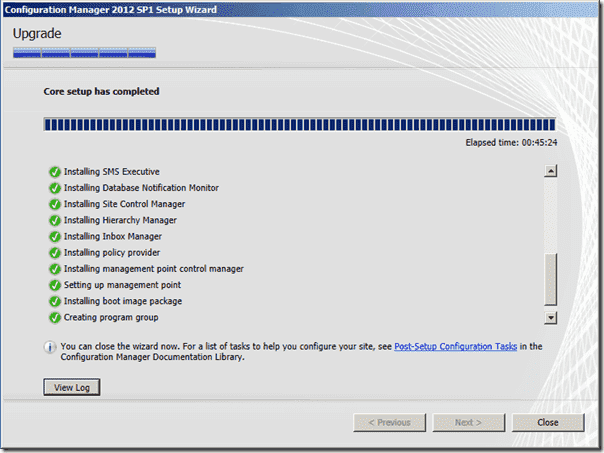 Configuration Manager 2012 SP1 - Core Setup has completed