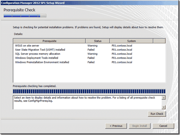 Configuration Manager 2012 SP1 Prerequisite Check