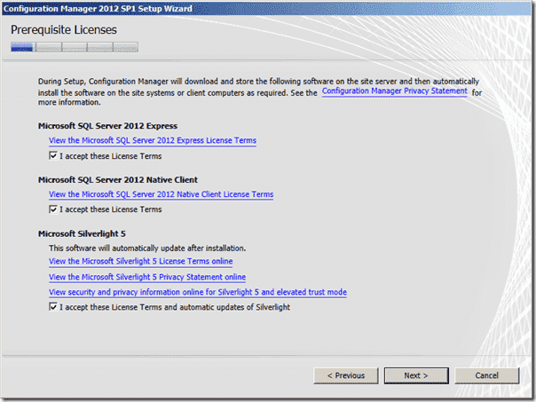 Configuration Manager 2012 SP1 Prerequisite Licenses