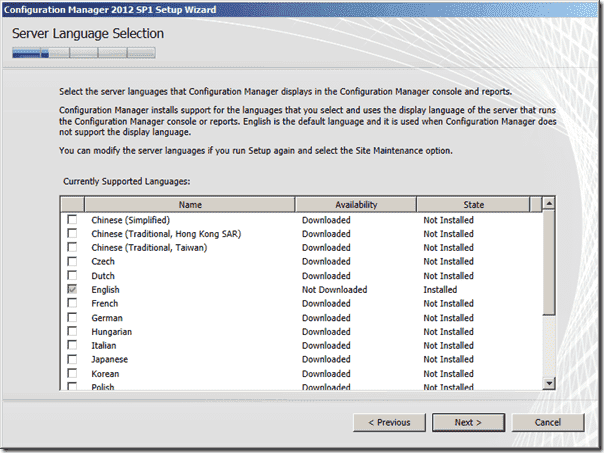 Configuration Manager 2012 SP1 Server Language Selection
