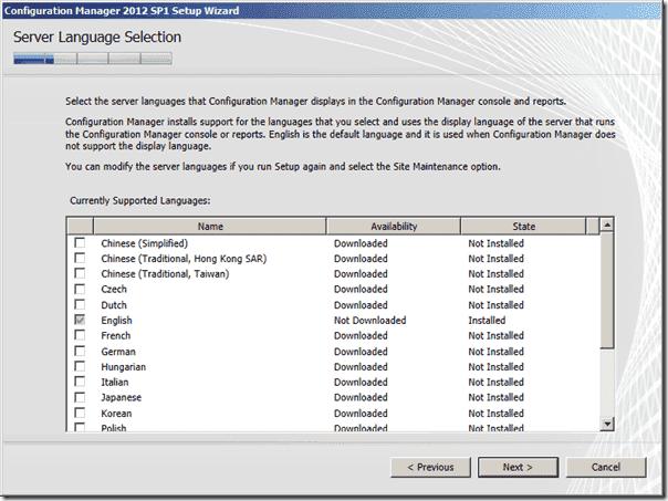 Configuration Manager 2012 SP1 Server Language Selection