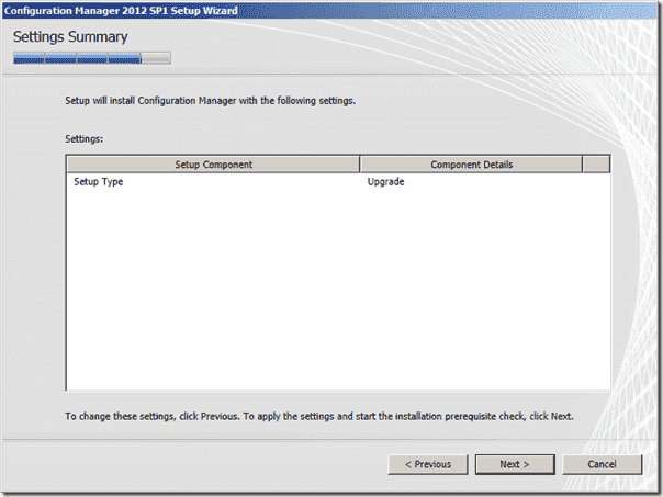 Configuration Manager 2012 SP1 Settings Summary