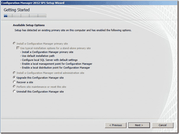 Configuration Manager 2012 SP1 Setup Wizard