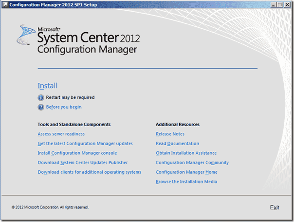 Configuration Manager 2012 SP1 Setup
