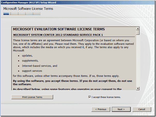 Configuration Manager 2012 SP1 Software License Terms
