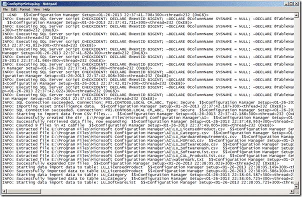 Configuration Manager 2012 SP1 Upgrade Log