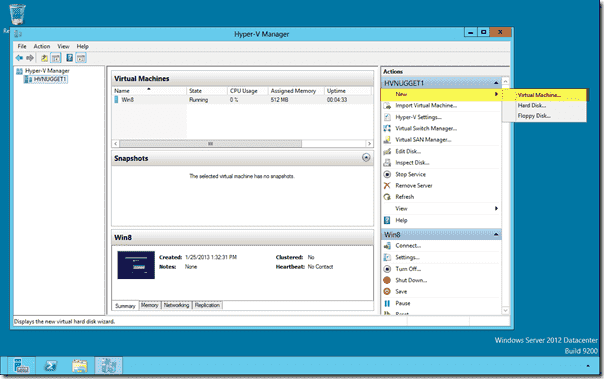 Creating a new VM in a Windows Server 2012 VM
