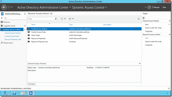 Dynamic Access Control setup page in ADAC