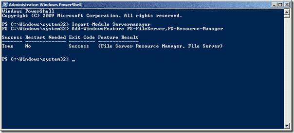 Install FSRM on Windows Server 2008 R2 with PowerShell