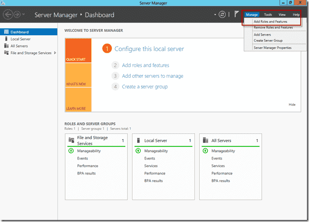 Install FSRM on Windows Server 2012 using Server Manager