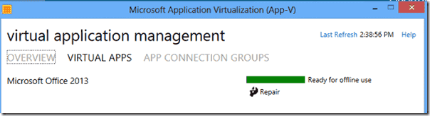 Office 2013 on the App-V Start Screen