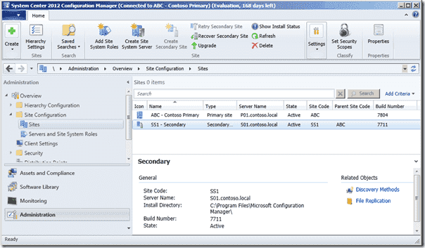 Primary Site SCCM 2012 SP1 - Secondary Site SCCM 2012