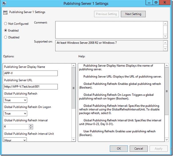 Publishing Server Settings