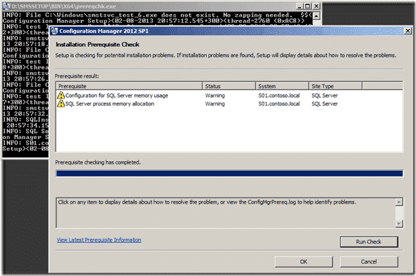 SCCM 2012 SP1 Installation Prerequisite Check