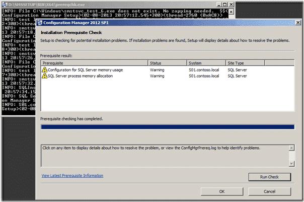 SCCM 2012 SP1 Installation Prerequisite Check