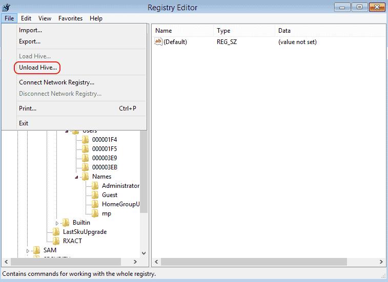 reset local admin password windows 7 registry
