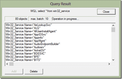WBEMTest - Query result with multiple instances