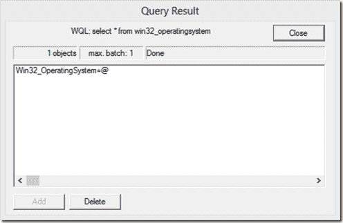WBEMTest - Query result