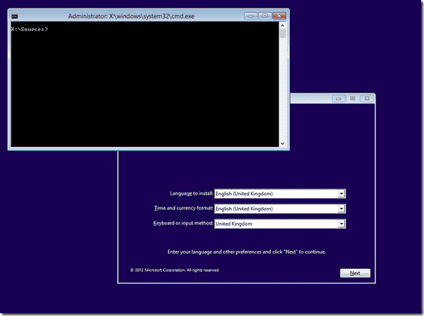 Windows 8 setup - Command prompt