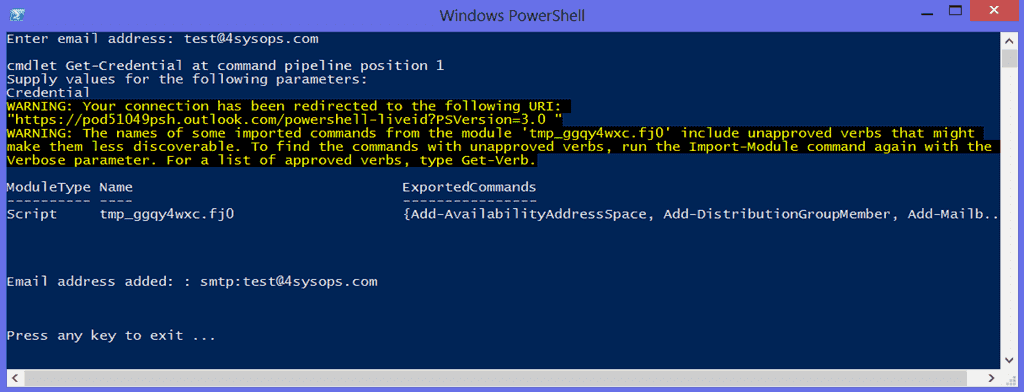 Shell to powershell conversion form