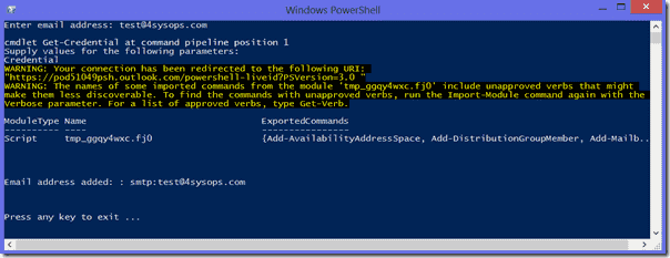 Add email address to Exchange Online with PowerShell