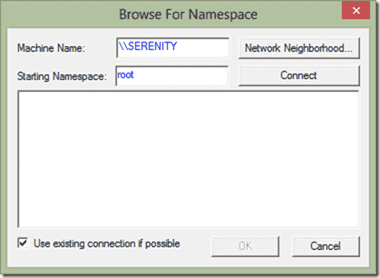 Browse for Namespace