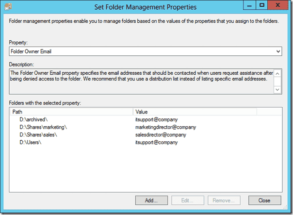 Folder Owner Email property