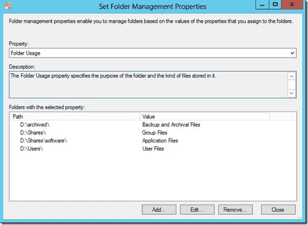 Folder Usage property