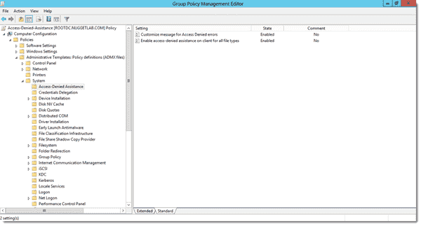 Group Policy is used to configure Access-Denied Assistance