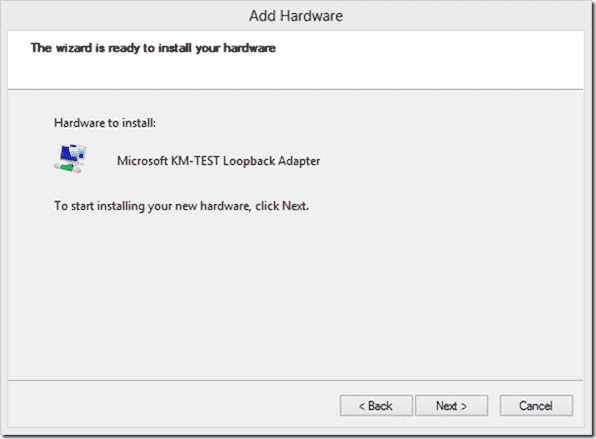 Install Microsoft KM-TEST Loopback Adapter