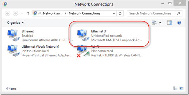 Loopback adapter under Network Connections
