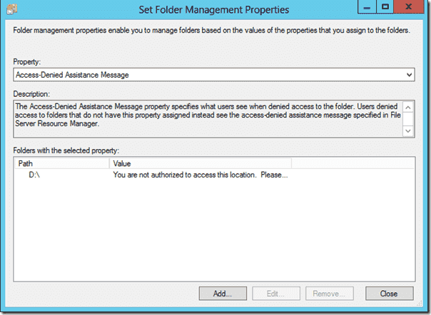 Set Folder Management Properties