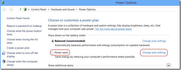 Advanced Power Options